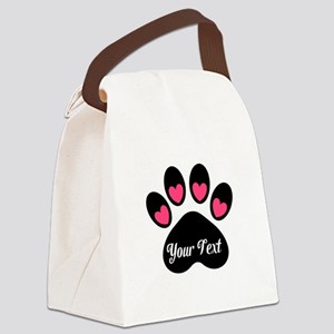 Personalizable Paw Print Pink Canvas Lunch Bag