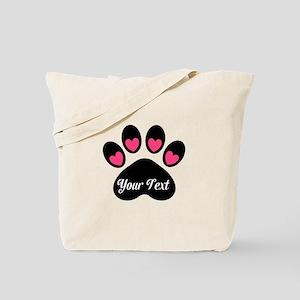 Personalizable Paw Print Pink Tote Bag