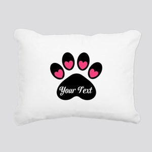 Personalizable Paw Print Pink Rectangular Canvas P