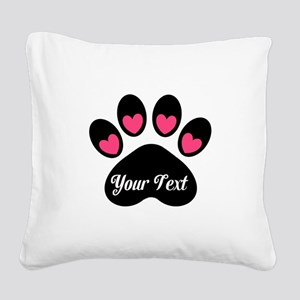 Personalizable Paw Print Pink Square Canvas Pillow