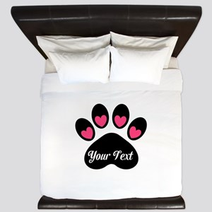 Personalizable Paw Print Pink King Duvet