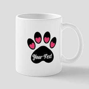 Personalizable Paw Print Pink Mugs
