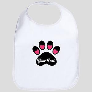 Personalizable Paw Print Pink Bib