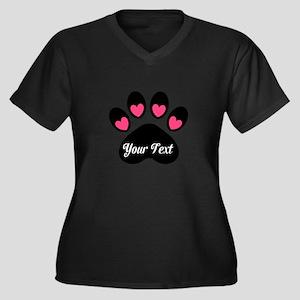 Personalizable Paw Print Pink Plus Size T-Shirt