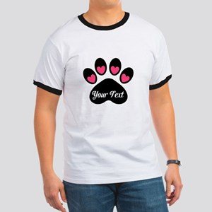Personalizable Paw Print Pink T-Shirt