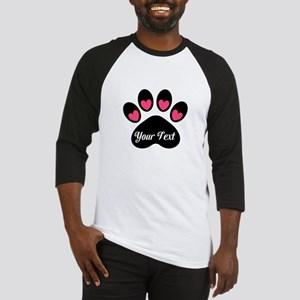 Personalizable Paw Print Pink Baseball Jersey