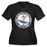 USS JOHN W. Women's Plus Size V-Neck Dark T-Shirt