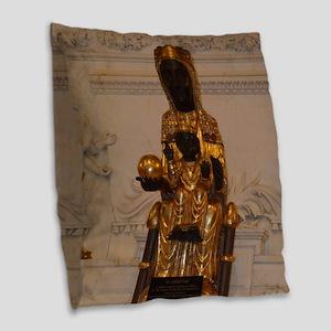 Lady of Montserrat Burlap Throw Pillow