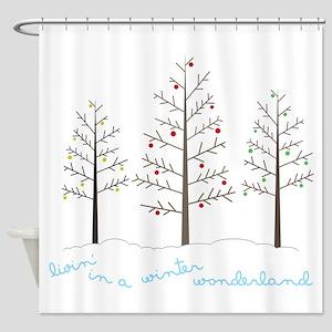Winter Wonderland Tree Shower Curtain