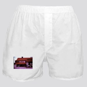 old picture of house with open garage Boxer Shorts