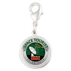 Space Tourist Silver Round Charm