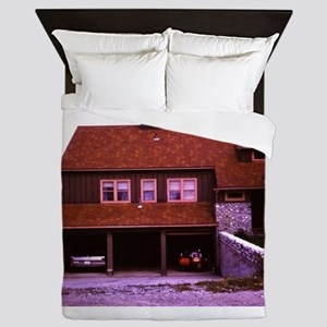 old picture of house with open garage Queen Duvet