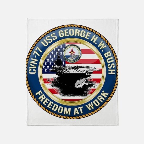 CVN-77 USS George H.W. Bush Throw Blanket