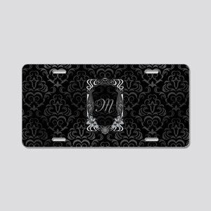 Black Grey Damasks Frame Aluminum License Plate