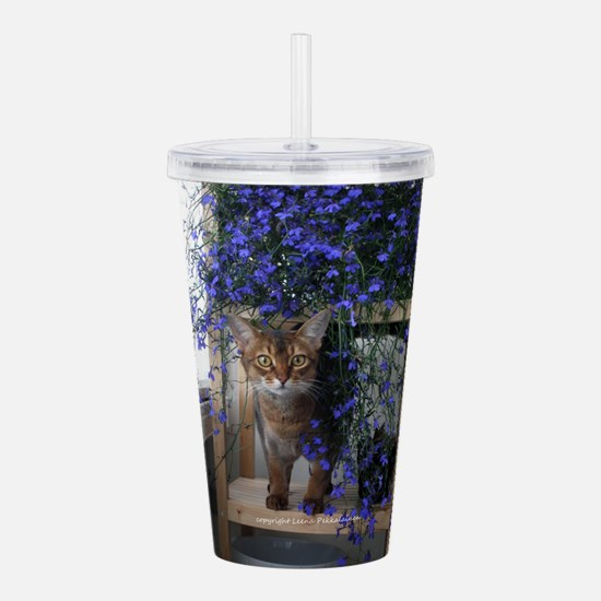 Flower Cat Acrylic Double-wall Tumbler