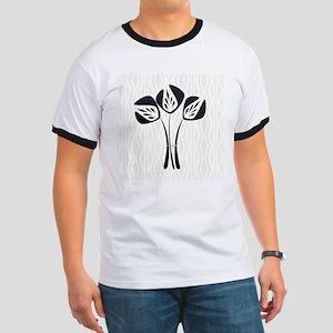 Art Deco Black Bouquet Cream Pattern T-Shirt