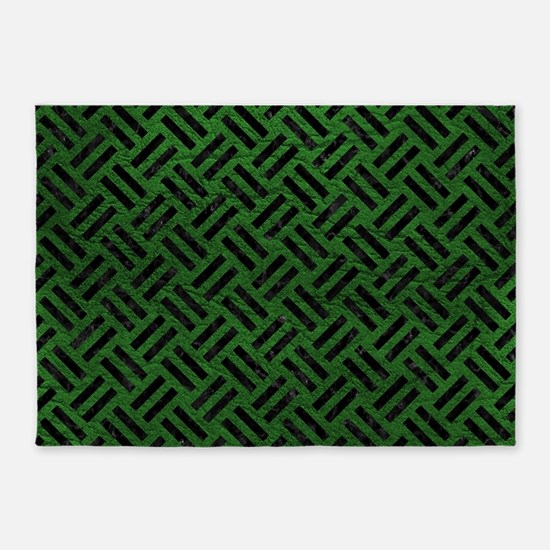 WOVEN2 BLACK MARBLE & GREEN LEATHER 5'x7'Area Rug