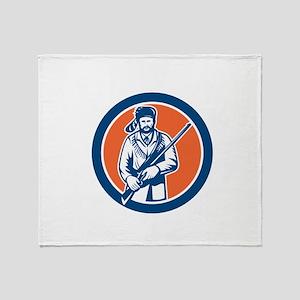 Davy Crockett American Frontiersman Throw Blanket