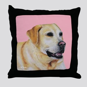 Yellow Lab Pink Throw Pillow