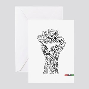 NO JUSTICE NO PEACE Fist Greeting Cards