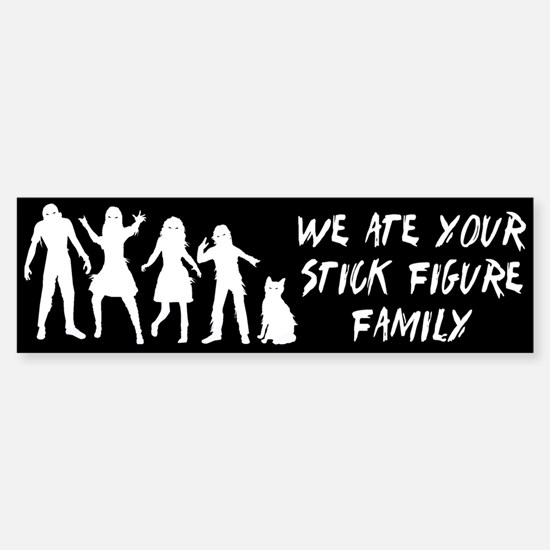 Zombies ate stick figures Sticker (Bumper)