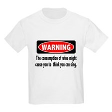FIN-warning-wine-sing Kids Light T-Shirt