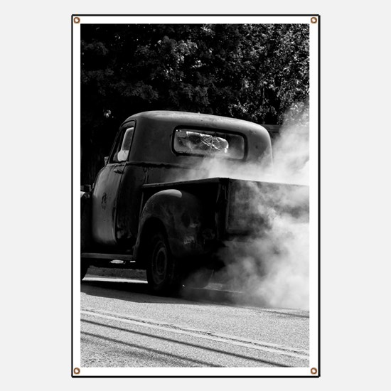 Vintage Truck Hot Smoking Tires Banner