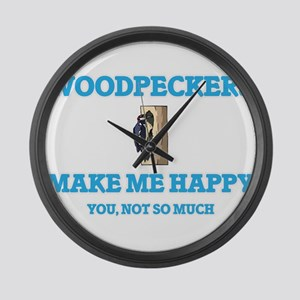 Woodpeckers Make Me Happy Large Wall Clock