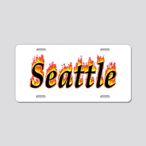 Seattle Flame Aluminum License Plate