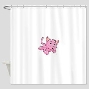 Pink Cat Kitten Animal Shower Curtain