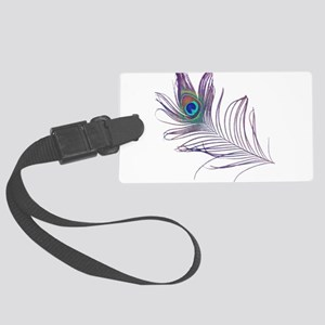 PEACOCK FEATHER Large Luggage Tag