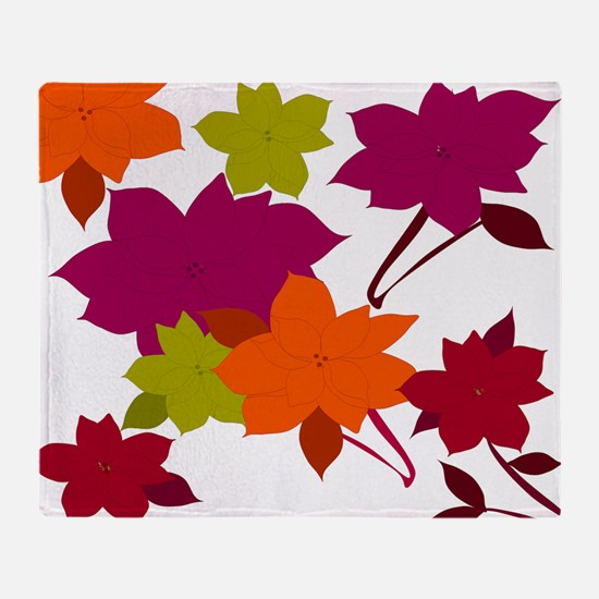 Fall Poinsettia Throw Blanket