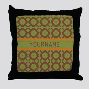 Custom Green and Brown Pattern Throw Pillow