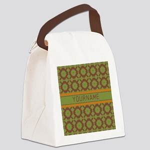Custom Green and Brown Pattern Canvas Lunch Bag