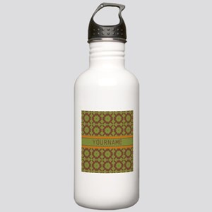 Custom Green and Brown Stainless Water Bottle 1.0L