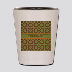 Custom Green and Brown Pattern Shot Glass