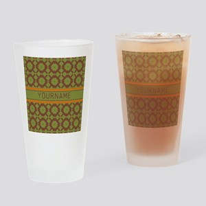 Custom Green and Brown Pattern Drinking Glass