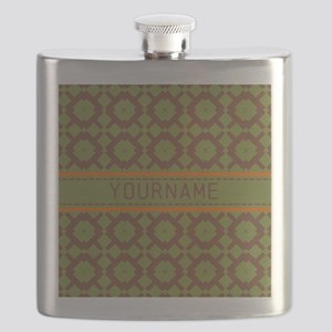 Custom Green and Brown Pattern Flask