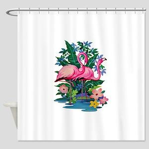 RETRO FLAMINGO Shower Curtain