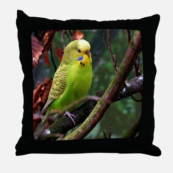 Cool Blue budgie Throw Pillow