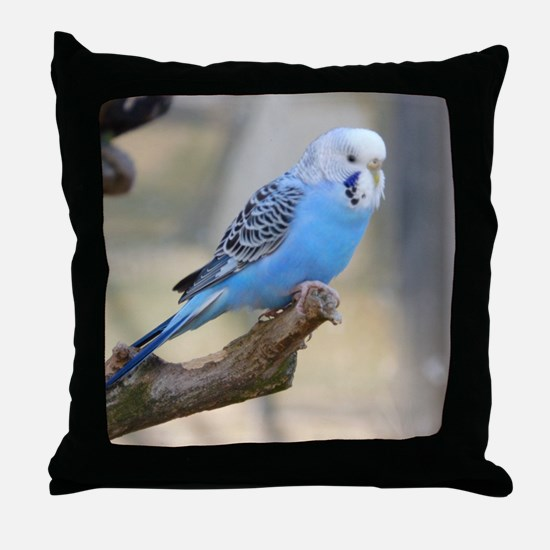 Funny Blue budgie Throw Pillow