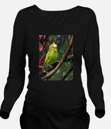 Funny Budgie Long Sleeve Maternity T-Shirt