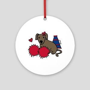 Cheerleader Dog Ornament (Round)