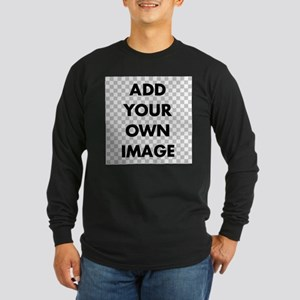 Custom Add Image Long Sleeve Dark T-Shirt