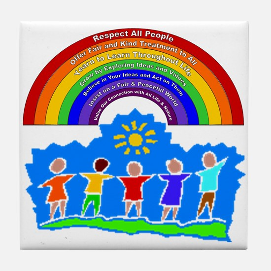 Rainbow Principles Kids Tile Coaster