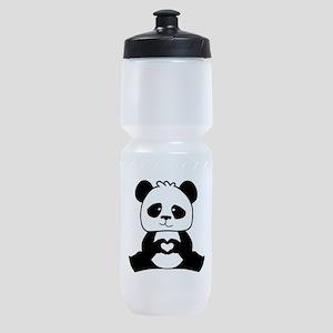 Panda's hands showing love Sports Bottle