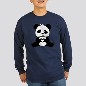 Panda's hands showing lov Long Sleeve Dark T-Shirt