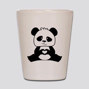 Panda's hands showing love Shot Glass