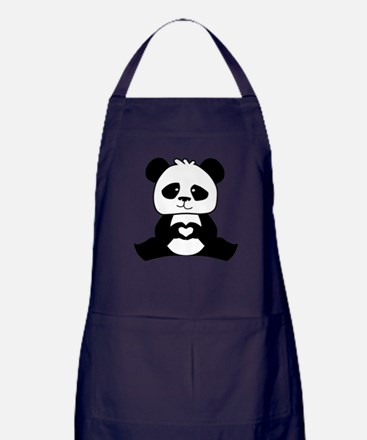 Panda's hands showing love Apron (dark)