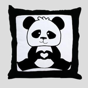 Panda's hands showing love Throw Pillow